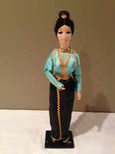 """Vintage Japanese Cloth Face Doll 17"""" on Wood Stand =BEAUTIFUL!!!"""