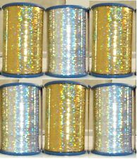 New Lurex 6 x Spools Thread High Quality embroidery Holographic Silver & Gold