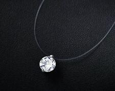 Durchsichtige Halskette mit Edelstein Kristall Zirkonia Silber Kette Anhänger