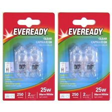 4 x Eveready G9 Eco 25W Halogen Bulb 250 Lumens 220V Clear Capsule Lamp