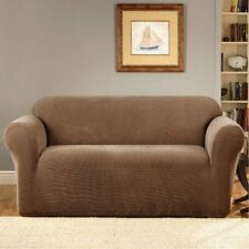Sure Fit Stretch Metro 1 piece Sofa Slipcover Box Cushion in Brown