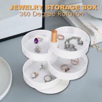 4 Layers 360° Rotating Jewelry Earrings Bracelet Storage Box Organizer  SU