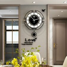 Swing Acrylic Quartz Silent Wall Clock With Wall Sticker Modern Design Pendulum
