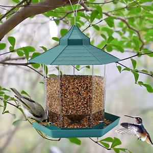 Hanging Wild Bird Feeder, 2.6lb Capacity Hexagon Shaped with Roof
