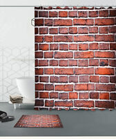 72x72'' Red Brick Wall Shower Curtain Bathroom Waterproof Fabric Bath Mat 6014