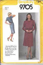 Vtg Simplicity 70s 80s 1980 Pattern 9705 Dress Shirtdress Pin-tuck Peter Pan 16