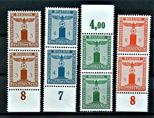 WW2 REAL HITLER 3rd REICH ERA GERMAN SET OF 8 OFFICIAL STAMPS 4X DOUBLE MNH