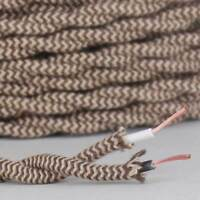 BEIGE & BROWN ~ Antique Look TWISTED Cloth Covered Fabric Lamp Wire ~ Per Foot