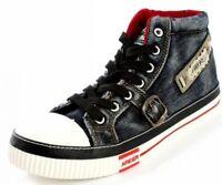 Mens Black high top denim sneaker shoe Black High Top Canvas shoe SZ 7.5-12 US