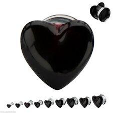 "PAIR-Glass Heart Black Double Flare Plugs 12mm/1/2"" Gauge Body Jewelry"