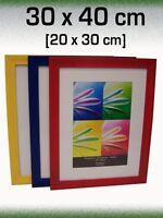 3 farbige Holz-Bilderrahmen Passepartout 20x30 30x40 Rahmen NEU blau rot gelb