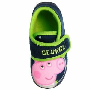 * SALE* BOYS NEW GEORGE PIG PEPPA PIG SLIPPERS TOUCH FASTENING SHOES SIZE 5 -10