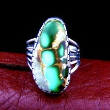 Sterling Silver Turquoise Ladies Ring Size 8  Native American Made --- R17 H