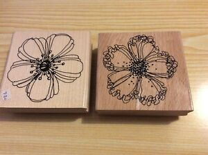 """2 x Stampendous w/m Rubber Stamps. Flowers- see photos.  Both are about 3""""sq."""