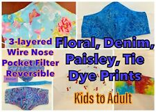 Floral, Paisley, Tie Dye, Denim and more, 3-layered  Fabric Face Masks
