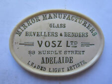 MIRROR & GLASS MANUFACTURERS VOSZ Ltd 88 RUNDLE St ADELAIDE LEAD LIGHT MAKERS