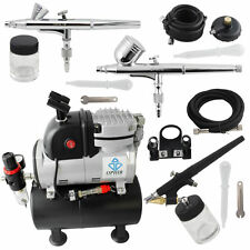 OPHIR 110V Air Compressor with Tank Set & 3x Spray Air Brush Set for Nail Paint