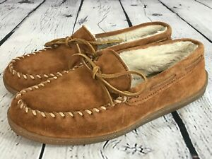MINNETONKA Brown Suede Leather Faux Fur Lined Slippers Moccasin Men's 9 M