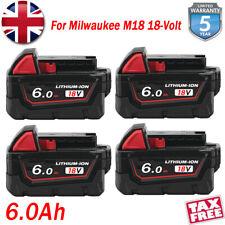 4X 6.0AH For Milwaukee M18B5 M18B6 M18B4 18V 6AH Li-ion High Demand Battery NEW