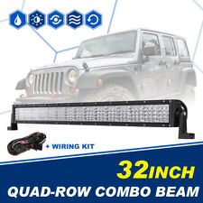 """LED LIGHT BAR CREE QUAD ROW 32INCH 2160W COMBO OFFROAD DRIVING 4WD TRUCK UTE 30"""""""