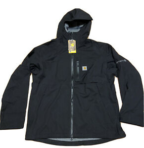 New Mens Carhartt Storm Defender Force Midweight Hooded Jacket Black Size Large
