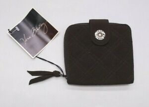 Vera Bradley Quilted Microfiber Brown Cotton Bi-Fold ID Coin Change Wallet NEW