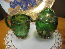 Bavarian Green/Gilt Cut Glass Creamer, Sugar Set, Embossed Gold Leaf Pattern!