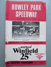 NOVEMBER 25TH 1977 SPEEDWAY OFFICIAL PROGRAM ROWLEY PARK MEETING NUMBER 5