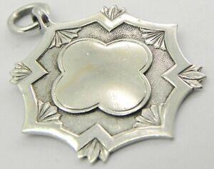 Antique Solid Silver Fob Medal, Birmingham 1937, By James Fenton