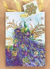 Punch Studio Small Gift Bag Proud Peacock 3D Foil Embellished + Tissue