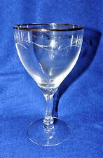 "12pc Fostoria 7"" Glass Goblet Elegant Golden Song Pattern #6099 Gold Rim Etched"