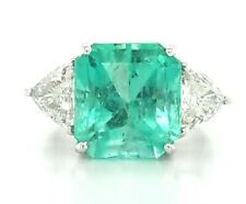 VINTAGE 18K WHITE GOLD  RING 8.76CT. NATURAL COLOMBIA GREEN EMERALD