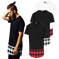 Urban Classics Herren T-Shirt Extra Lang Flanell Bottom Holzfäller Hemd TB1098