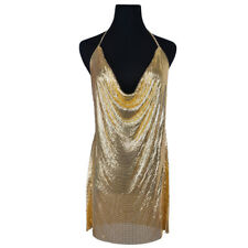 SEXY SEQUIN CHAINMAIL METAL GOLD  MINI DRESS PARTY CLUBWEAR UK 8-10 UK SELLER