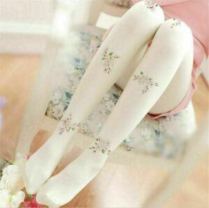 Lolita Girls Floral Sakura Pattern Pantyhose Casual White Long Socks