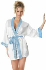 Women's Lingerie White Robe Bridal Kelly Satin with Bride Letter Embroidered Oh