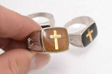 FREE Wholesale lot 5pcs Cross Glaze Change Color Mood Silver Plated Man Rings