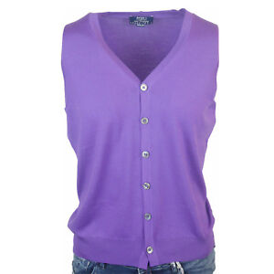 "Fedeli Knit Cardigan Men's Purple "" Slim Fit "" Size 48 (Previously"