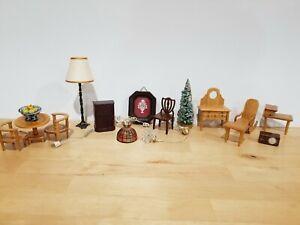 Dollhouse miniature vintage wood furniture Lighting lot
