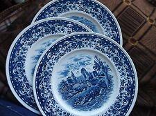 "4 X ELEGANT DINNER PLATES VILLEROY & BOCH METTLACH BLUE CASTLE EX COND 10.5"""