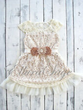 Ivory Rustic Lace Flower Girl dress - Burlap Flower Girl Dress, Lace Baby Dress