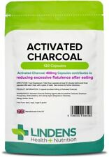 Activated Charcoal 400mg capsules (120 pack) reduces flatulence [Lindens 6108]