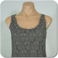 ANN TAYLOR LOFT Women's Lace Front Gray Tank Top, size XS