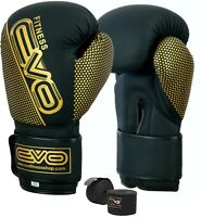 EVO Maya Leather Boxing Gloves MMA Training Punch Bag Sparring Muay Thai Fight