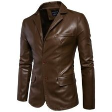 Retro Men Formal PU Leather Blazer Jacket Button Lapel Long Sleeve Work Coat