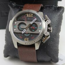 NEW AUTHENTIC DIESEL IRONSIDE GREY BROWN LEATHER CHRONOGRAPH MEN'S DZ4387 WATCH