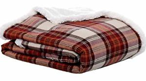 """NEW  Eddie Bauer Home  Sherpa Flannel Throw  50""""x60"""" Blanket Soft Comfy Warm"""