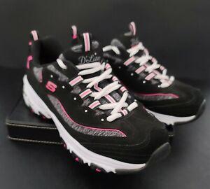 Skechers D'Lites Me Time 11936 Sneakers, Women's Size 8 W, Black/Pink