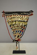 Papua New Guinea Sepik Dog Teeth Shell Woven Red Yellow Fiber Chest Adornment
