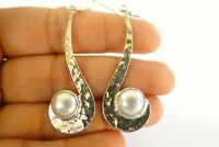 White Mabe Pearl Solitaire Hammered 925 Sterling Silver Dangle Drop earrings